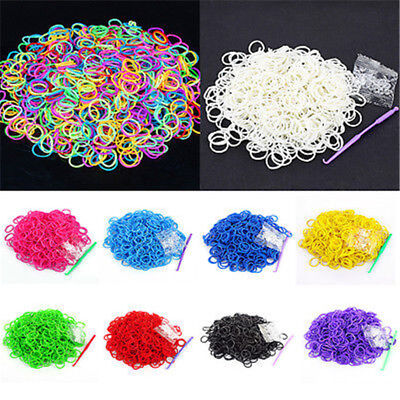 600PCS/Bag Loom Refill Bracelet Charm Rainbow Braided Rubber Bands Anklet Clip
