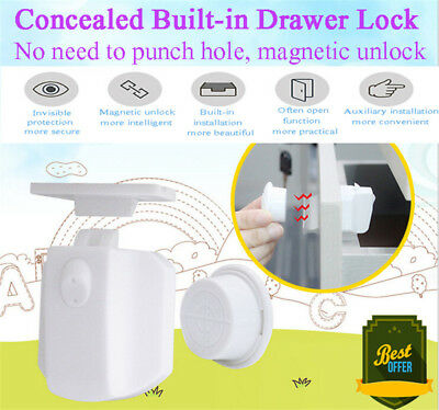 New 10PCS Magnetic Cabinet Drawer Cupboard Locks for Baby Safety Child Proof