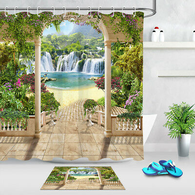 """Terrace Waterfall Sea Flowers Arches Landscape Fabric Shower Curtain Set 72/79"""""""