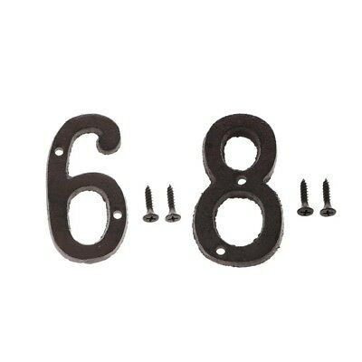 6 &8 Wrought Iron House Address Number Numerals for Home Door Sign Plate