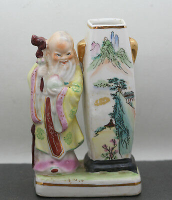 Unusual Vintage Chinese Hand Painted Porcelain Vase Decorated w/God Of Longevity