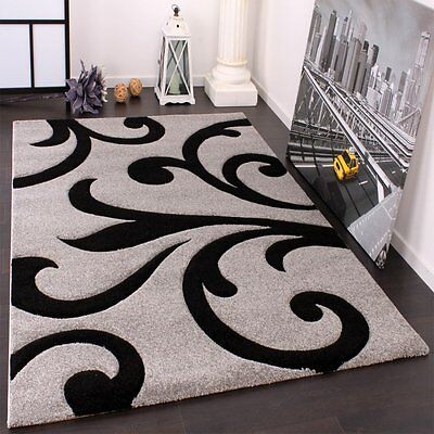 Modern Rug Oriental Black and Grey Floral Contour Cut Mat New Living Room Carpet