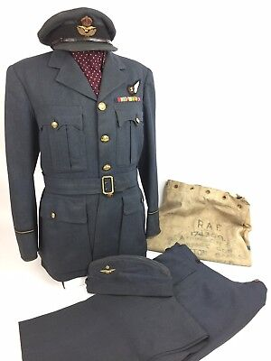 Original WW2 RAF Bomber Command Service Dress Uniform Grouping With Peaked Cap