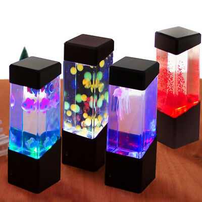 Fish Tank Glowing LED Light Desktop stand Aquarium Jellyfish Fish Home Ornament