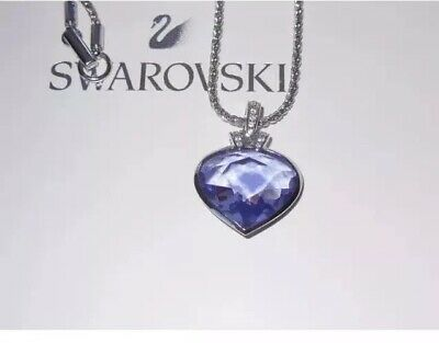 SWAROVSKI Oceanic Tanzanite Crystal Heart pendant On SS Necklace Valentines Day