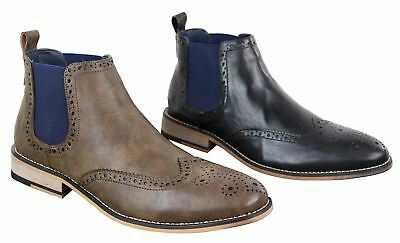 Mens Brogue Chelsea Boots Slip On 1920s Classic Gatsby Peaky Blinders Leather