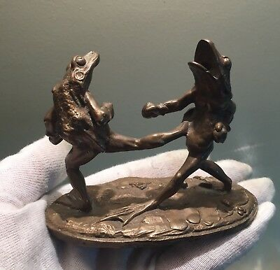 Bronze Fighting Frogs Figurine