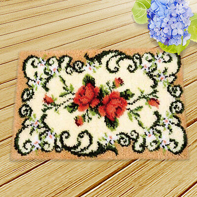 Flower Latch Hook Kit Embroidery Needlework Supplies for Rug Cushion 50x36cm