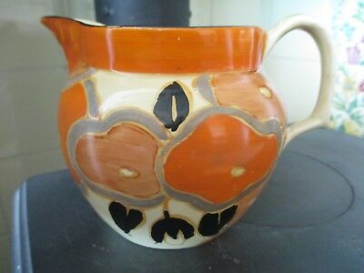 Early Clarice Cliff Fantasque Newport pottery jug in Orange Chintz pattern