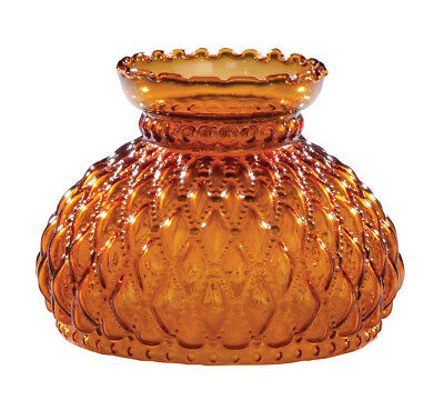 7 inch AMBER DIAMOND QUILTED GLASS SHADE fits OIL & KEROSENE TABLE & WALL LAMPS