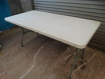 Lot#1210-1: 2 - 5' Long Rectangle Plastic Folding Tables, Banquet Craft - Used