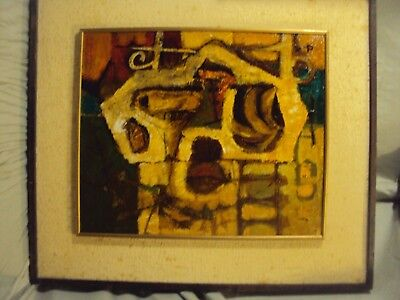 VINTAGE ABSTRACT MODERNIST OIL PAINTING Mid Century Modern Signed 1968