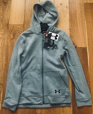 UNDER ARMOUR Boys Rival Hoodie Grey YM YS YL YX AGES 7-8, 8-10, 10-12, 12-14