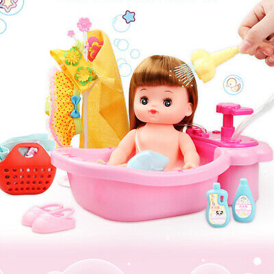 Deluxe Mummy & Baby Toy Cradle Girl Doll Bathtub Set Kids Role Play Game