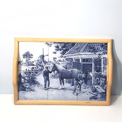 Blue White Ceramic Tray Ter Steege BV Delft Horse Shoe Sc Made In Hollande Wood