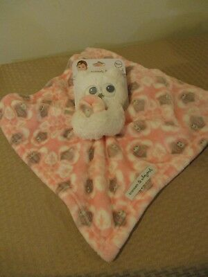 New Blankets and Beyond Pink White Owl Security Blanket Nunu Lovey