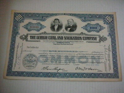Stock Certificate - 100 Shares Of The Lehigh Coal And Navigation Company