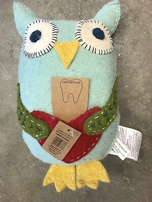 NWT Creative co-op Wool Blue Owl Tooth Fairy Pillow - $25 Ret
