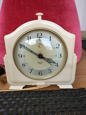"Classic Art Deco Smiths ""Sectric"" Electric Alarm Clock In Cream"