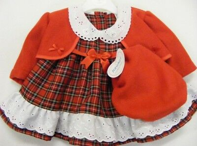 Girls Kinder Boutique designer tartan dress, bolero & beret set new with tags