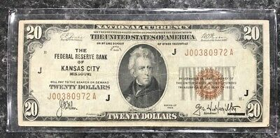 1929 $20 Kansas City, Mo U.s. National Currency Note Frb ~ Fine Condition! Nr!