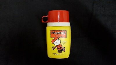 Vintage Peanuts Thermos Red Cup Lid Charlie Brown 1950's Batter Up No Defects