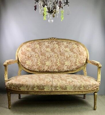 French Giltwood Canape / Settee in Louis XVI Style