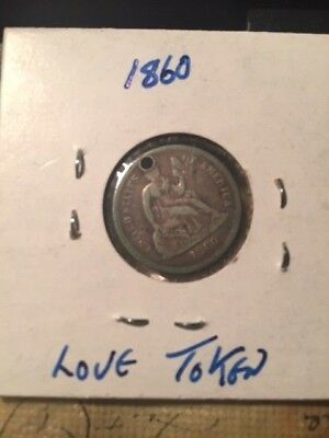 1860 Seated Liberty 10c Love Token