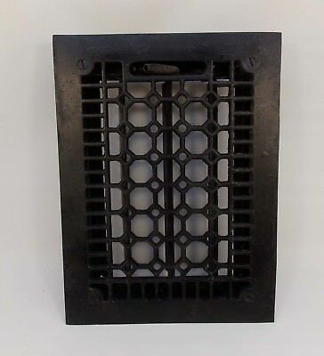 Antique Heat REGISTER Grill w Damper Louvers CAST IRON Honeycomb Design 0303-2