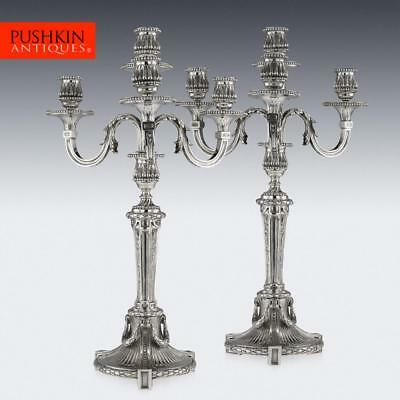 ANTIQUE 19thC FRENCH SOLID SILVER PAIR OF FOUR LIGHT CANDELABRA, ODIOT c.1880