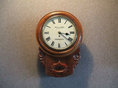 Swansea / Welsh / Rare Fusee Drop Dial Wall Clock (Williams Of Castle Street)