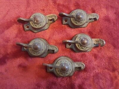Vintage Antique Brass Bronze EASTLAKE  Window Latches  w/no catches Dated 1897