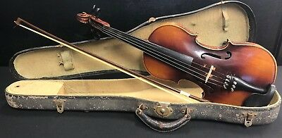 Vintage Antonius Stradivarius Copy Violin W/Bow Made In Germany & Case