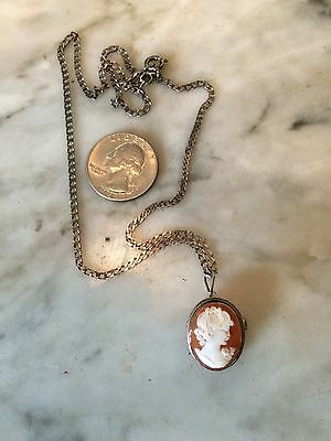 Vtg sterling silver 800 edwardian victorian cameo chain pendant necklace