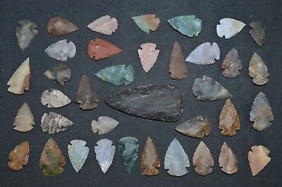 "37 PC Flint Arrowhead Ohio Collection Points 1-3"" Spear Bow Stone Hunting Blade"