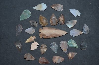 "26 PC Flint Arrowhead Ohio Collection Points 1-3"" Spear Bow Stone Hunting Blade"