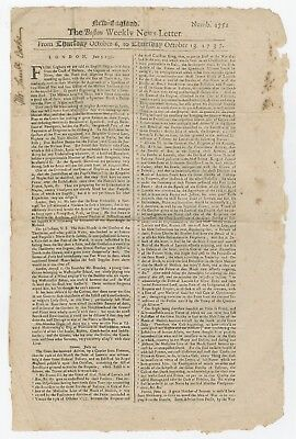 Rare Colonial Newspaper: A 1737 Issue of The Boston Weekly News-Letter