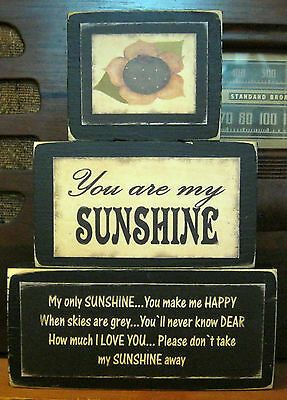 You Are My Sunshine Country Primitive Rustic Stacking Blocks Wooden Sign Set