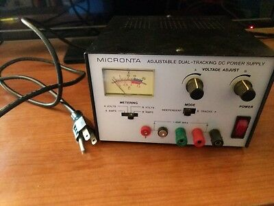 MICRONTA 22-121 DC Power Supply Adjustable Dual Tracking 0-15VDC 0-1 Amp