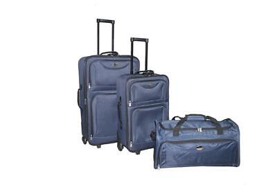 """New 3PC Navy Blue Luggage Travel Bag Trolley Suitcase Carrier 25""""/21""""/21"""""""