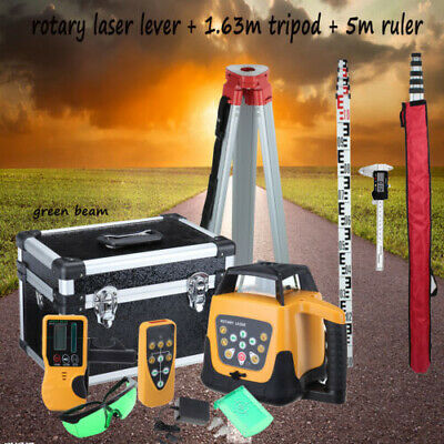 Green Beam Self-Leveling Horizontal Vertical Rotary Laser Level Staff Tripod Set