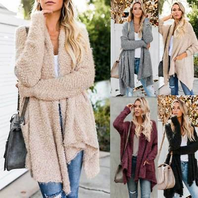 Womens Plush Irregular Cardigan Jacket Slim Coat Winter Warm Loose Outwear Tops