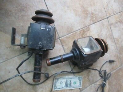 ANTIQUE MATCHED PAIR of Electrified Fancy Victorian Kerosene CARRIAGE LAMPS