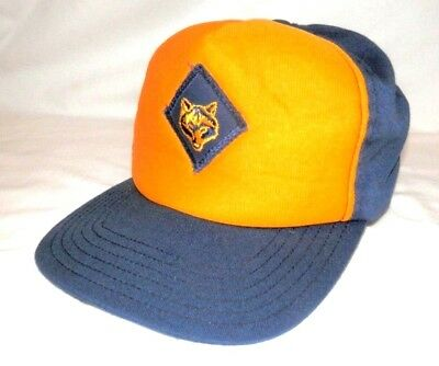 BSA Boy Scouts Official Canvas Blue Yellow WOLF Twill Hat M/L Snapback
