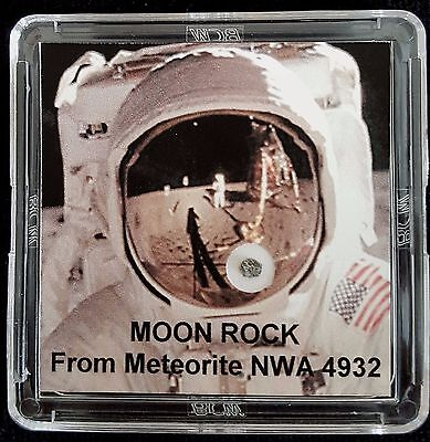 DELUXE EDITION- AUTHENTICATED LUNAR METEORITE- 12mg Moon Rock Display+Easel    a