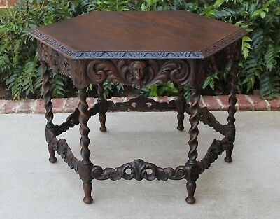 Antique Oak Renaissance Revival Barley Twist Octagonal Center Parlor End Table