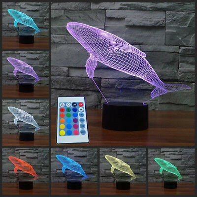 Whale 3D LED Night Light 7 Color Touch USB Charging+Remote Control Lamp Kid Gift