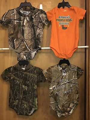 LOT OF 4 PCS BOYS INFANT MIXED LOT CAMO TOPS/SLEEPERS- Sz 6 TO 12 MON