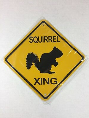 "Squirrel Xing Metal Crossing Sign 6""x6"" (NEW) Squirrels"
