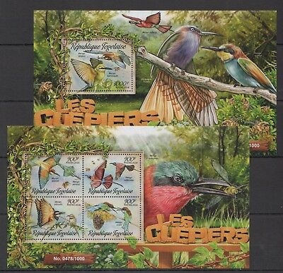A397 2016 Togo Fauna Birds Les Guepiers Bee-Eaters Kb+Bl Mnh